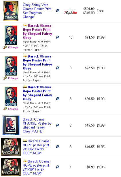 Obama limited edition posters on ebay